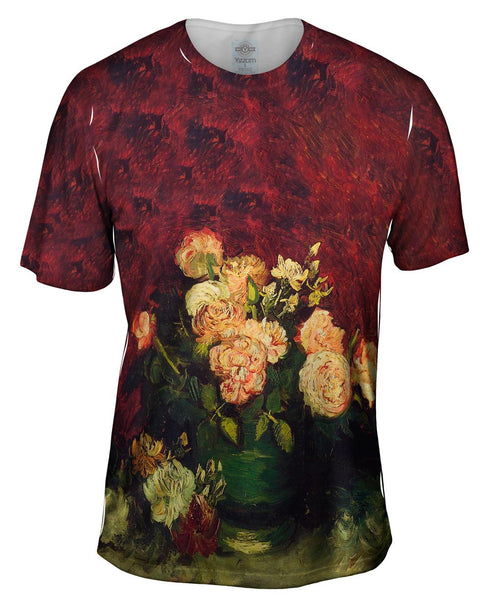 "Van Gogh -""Bowl with Roses"" (1886) Mens T-Shirt"