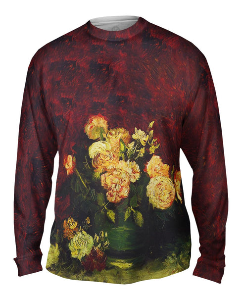 "Van Gogh -""Bowl with Roses"" (1886) Mens Long Sleeve"