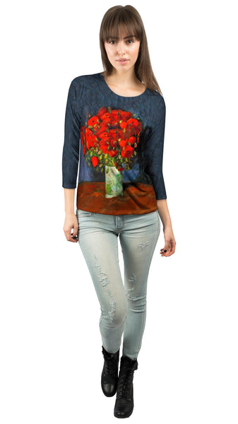 "Van Gogh -""Vase with red Poppies"" (1886) Womens 3/4 Sleeve"