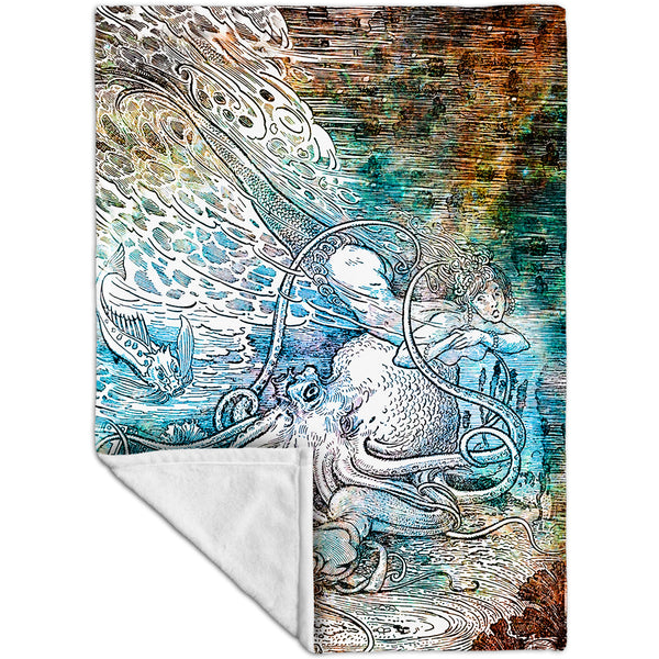 "Louis Rhead - ""Mermaid Octopus"" Fleece Blanket"
