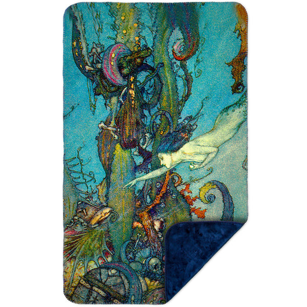 "Edmund Dulac - ""The Little Mermaid 2"" (1911) MicroMink(Whip Stitched) Navy"
