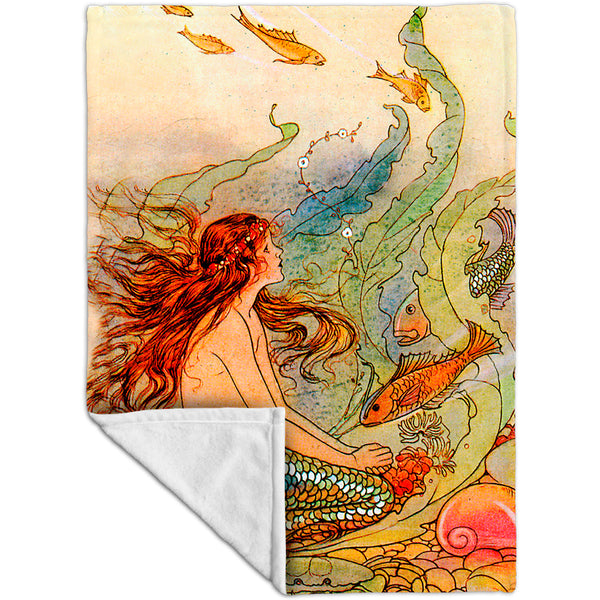 "Elenore Plaisted Abbott - ""The Mermaid And The Flower Maiden"" Fleece Blanket"