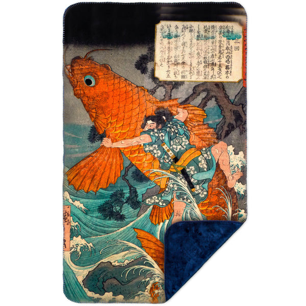"Japan - Utagawa Hiroshige - ""Giant Red Carp"" MicroMink(Whip Stitched) Navy"