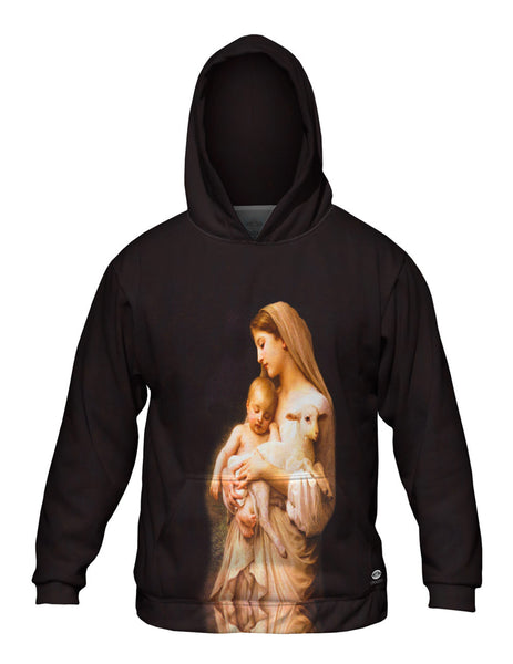 """Virgin Mary Jesus and a lamb"" Mens Hoodie Sweater"