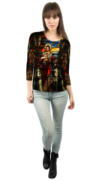 """St Johns Ashfield Stained Glass Good Shepherd"" Womens 3/4 Sleeve"