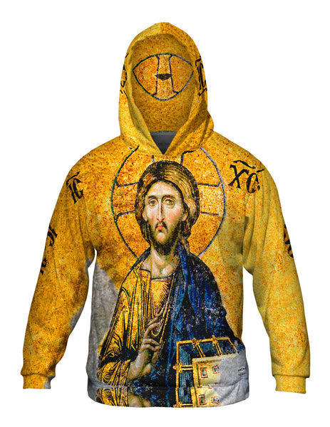 """Christian Orthodox Jesus Gold Hagia Sophia"" Mens Hoodie Sweater"