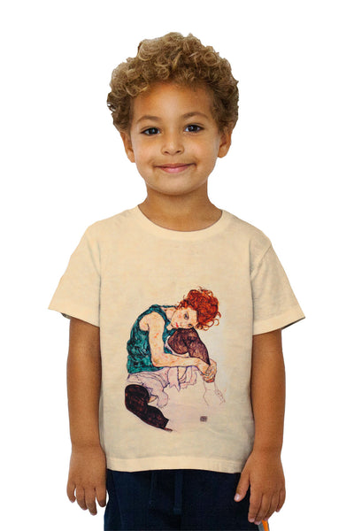 "Kids Egon Schiele - ""Seated Woman with Bent Knee"" (1917) Kids T-Shirt"