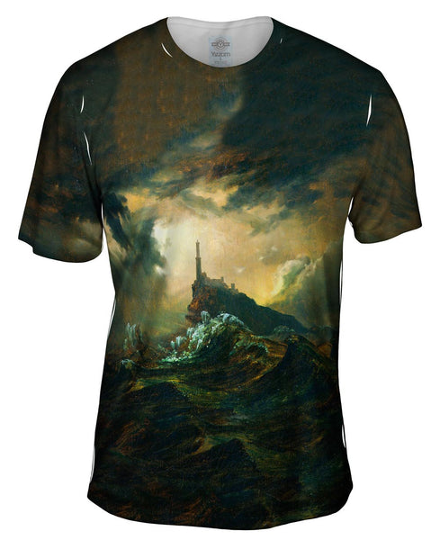 "Carl Blechen - ""Stormy Sea with Lighthouse"" (1826) Mens T-Shirt"