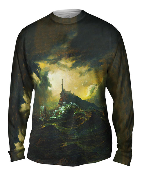 "Carl Blechen - ""Stormy Sea with Lighthouse"" (1826) Mens Long Sleeve"