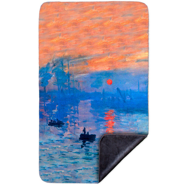 "Claude Monet - ""Impression Sunrise"" (1873) MicroMink(Whip Stitched) Grey"