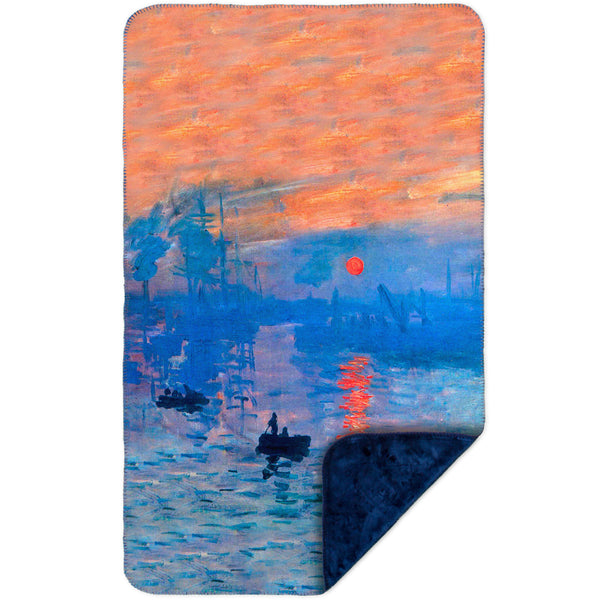 "Claude Monet - ""Impression Sunrise"" (1873) MicroMink(Whip Stitched) Navy"