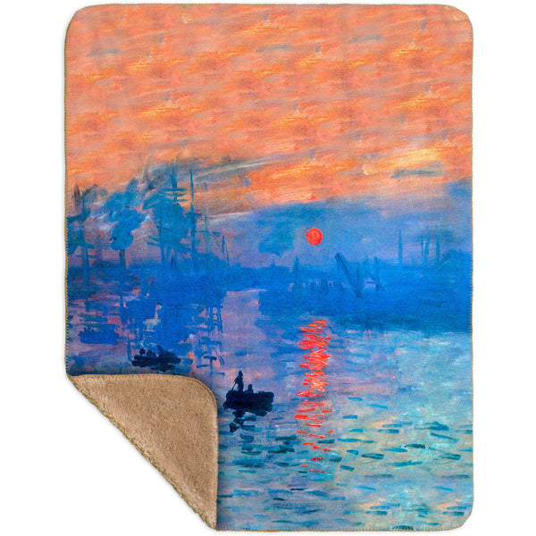 "Claude Monet - ""Impression Sunrise"" (1873) Sherpa Blanket"