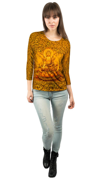 """Buddha Under A Tree Statue"" Womens 3/4 Sleeve"