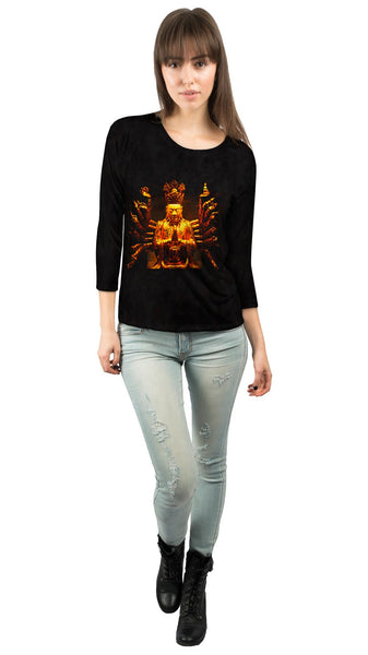 """Golden Buddha Statue"" Womens 3/4 Sleeve"