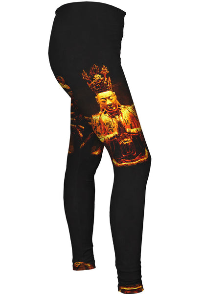 """Golden Buddha Statue"" Womens Leggings"