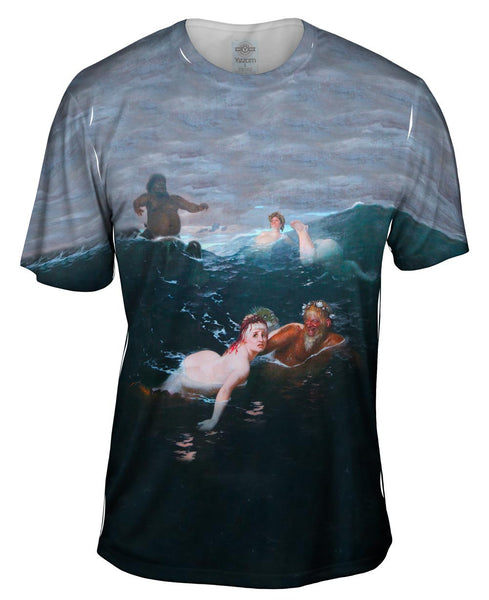 "Arnold Bocklin - ""Playing In The Waves"" (1883) Mens T-Shirt"