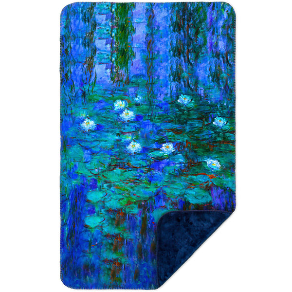"Claude Monet - ""Blue Water Lilies"" (1916) MicroMink(Whip Stitched) Navy"
