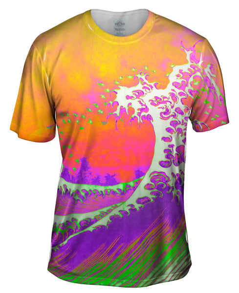 "Pop Art Hokusai - ""The Great Wave Orange Purple"" (1830) Mens T-Shirt"