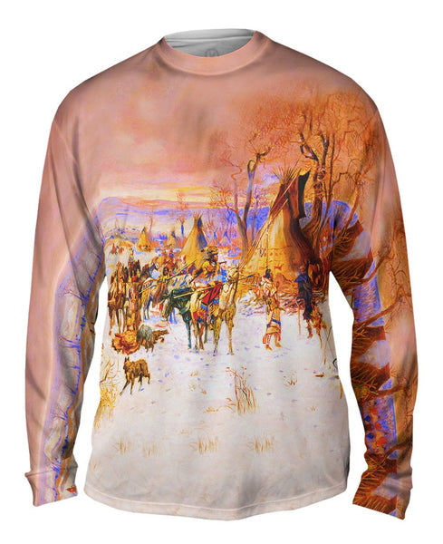 "Charles Marion Russell - ""Indian Hunters Return"" (1900) Mens Long Sleeve"