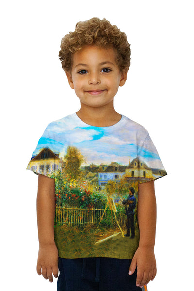"Kids Pierre Auguste Renoir - ""Claude Monet Painting In His Garden At Argenteuil"" (1873) Kids T-Shirt"