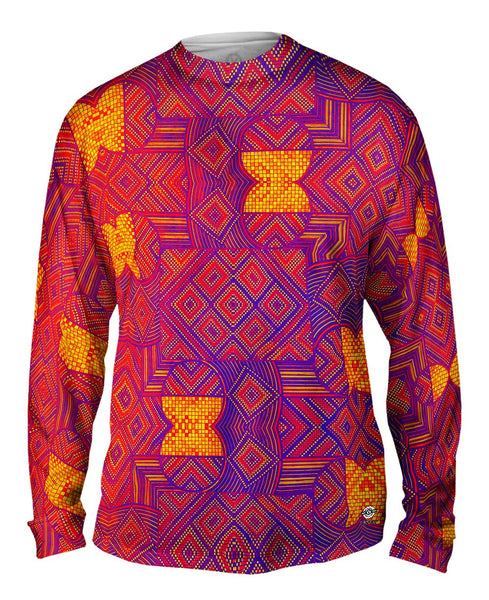 "Eugene Andolsek  - ""Just Folk African Cloth Popart Red"" Mens Long Sleeve"