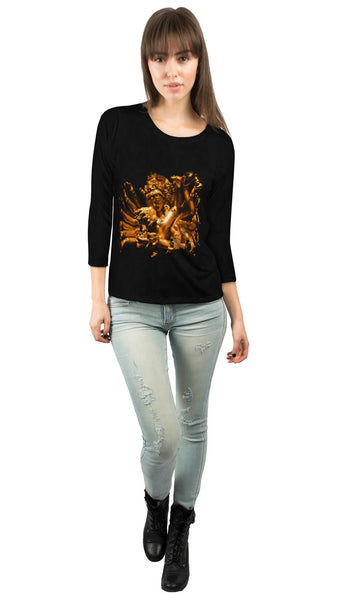 """Gold Love God Statue"" Womens 3/4 Sleeve"