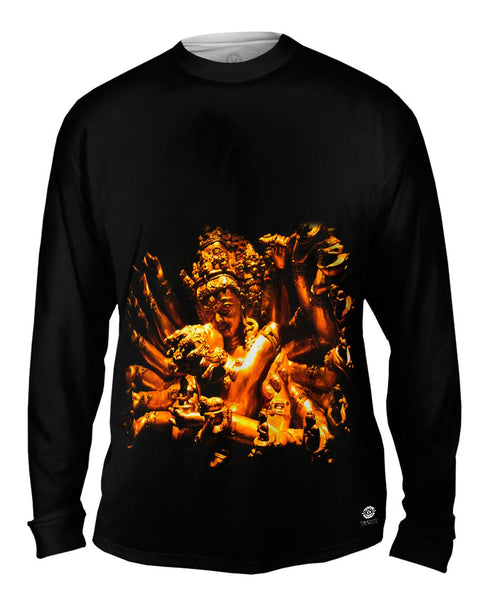 """Gold Love God Statue"" Mens Long Sleeve"