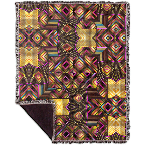 "Eugene Andolsek  - ""Just Folk African Cloth"" Woven Tapestry Throw"