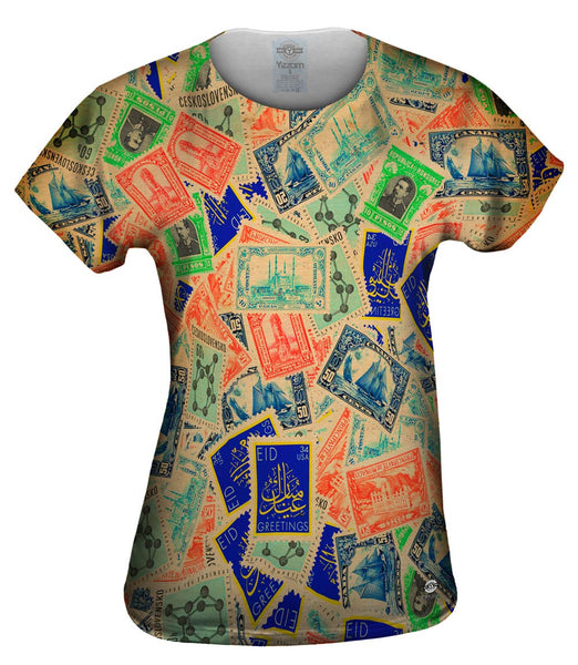 """Antique Stamp Collection"" Womens Top"