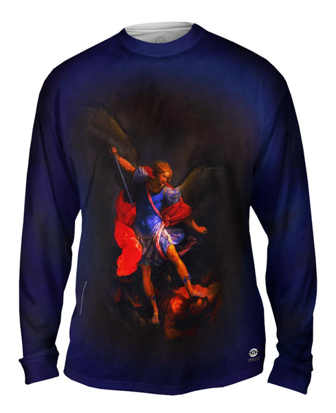 "Guido Reni - ""The Archangel Michael defeating Satan"" (1635) Mens Long Sleeve"