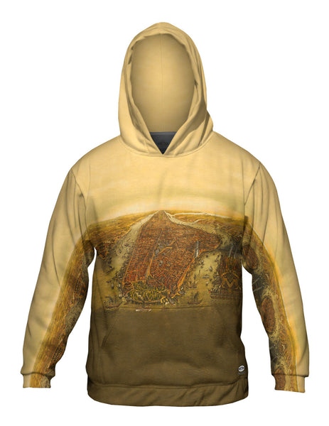 """Bird_#_s Eye Map of Manhattan New York City"" Mens Hoodie Sweater"