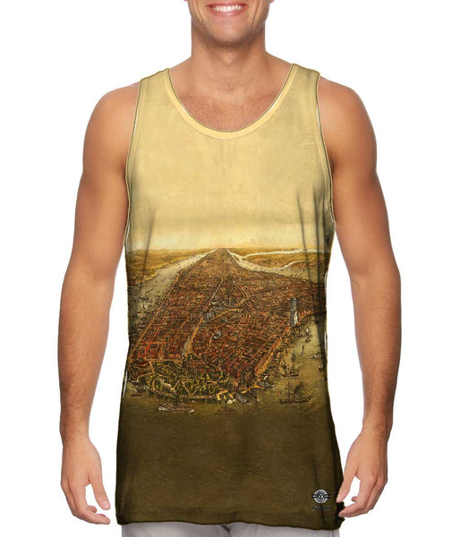 """Bird_#_s Eye Map of Manhattan New York City"" Mens Tank Top"