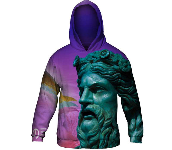 Poseidon and the Dolphin Mens Hoodie Sweater