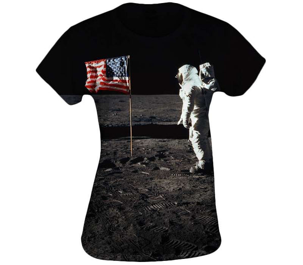 Buzz Aldrin and the U.S. Flag on the Moon Womens Top