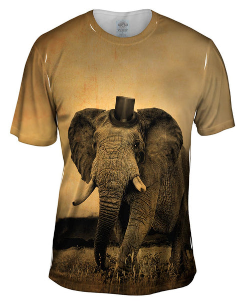 Top Hat Elephant Mens T-Shirt