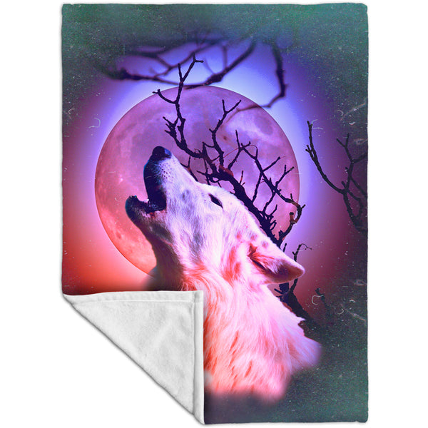 White Lone Wolf Fleece Blanket