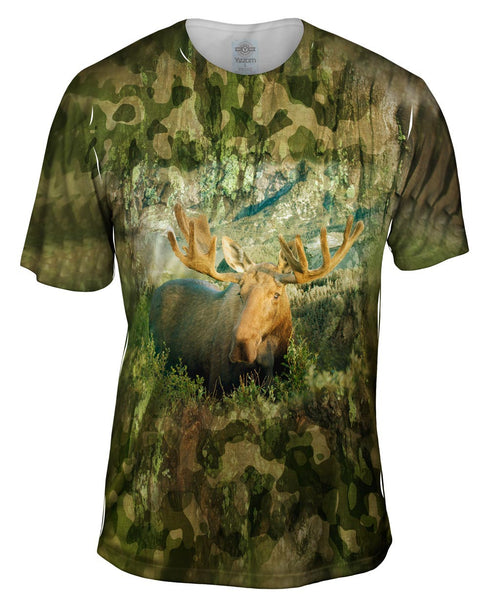 Green Camo Moose Mens T-Shirt