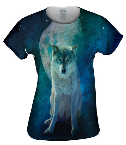Camo Moon Wolf Womens Top