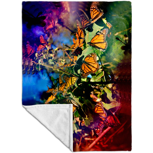 Tiedye Butterflies Fleece Blanket