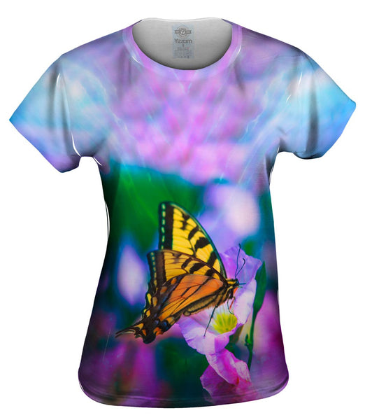 Bright Pink Flower Butterfly Womens Top