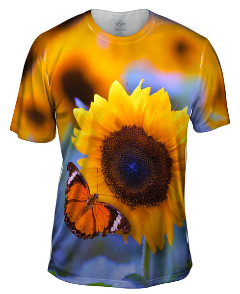 Sunflower Butterfly Mens T-Shirt