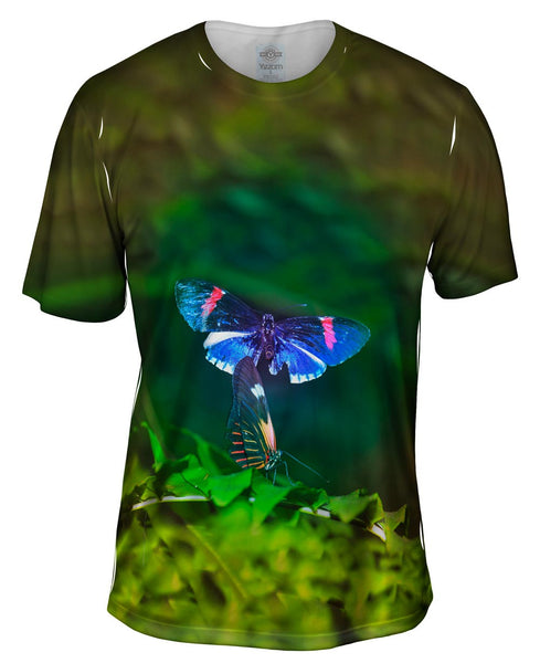 Blue And Pink Butterfly Mens T-Shirt