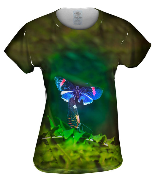 Blue And Pink Butterfly Womens Top