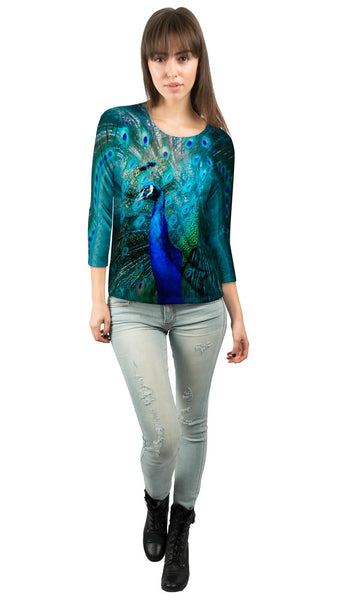 Gold Peacock Womens 3/4 Sleeve