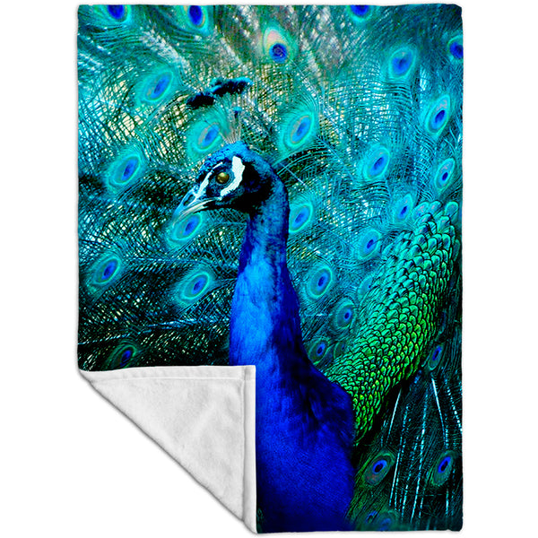Gold Peacock Fleece Blanket