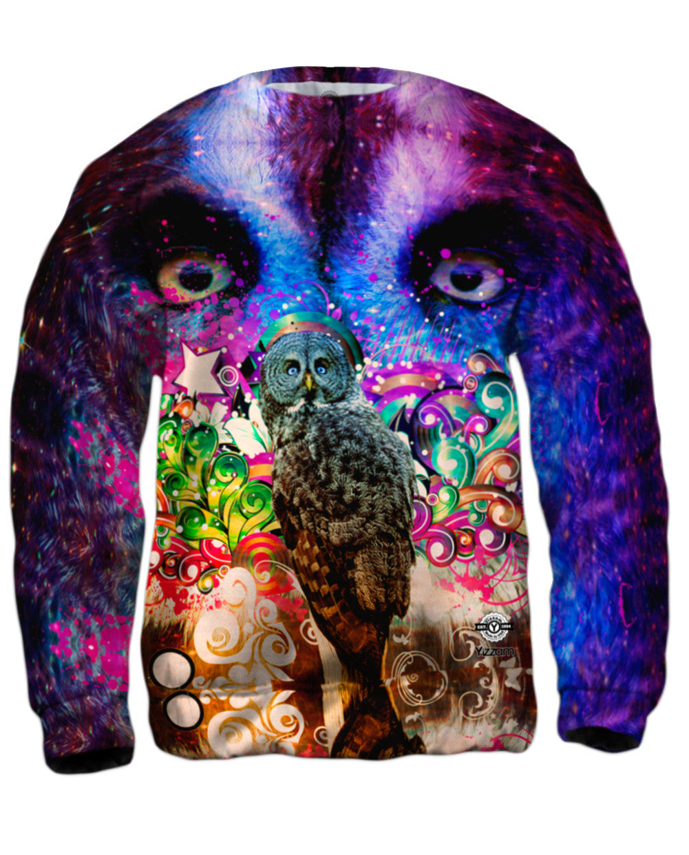 Mens Hoodie Sweater Grey Owl Allover Print Yizzam