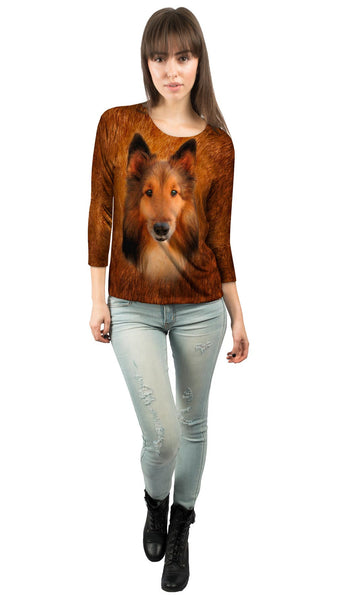 Adorable Collie Face Womens 3/4 Sleeve