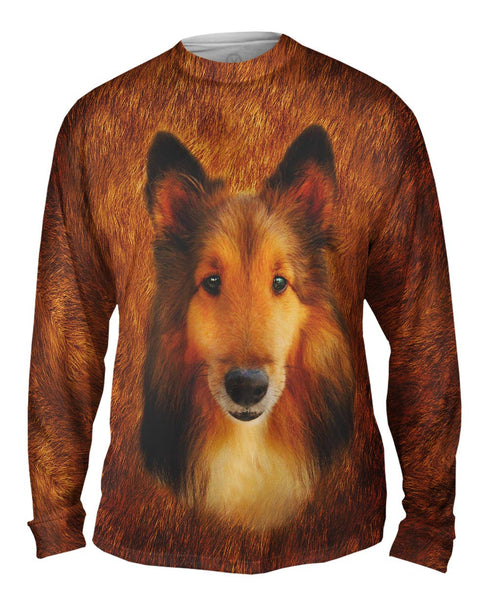 Adorable Collie Face Mens Long Sleeve