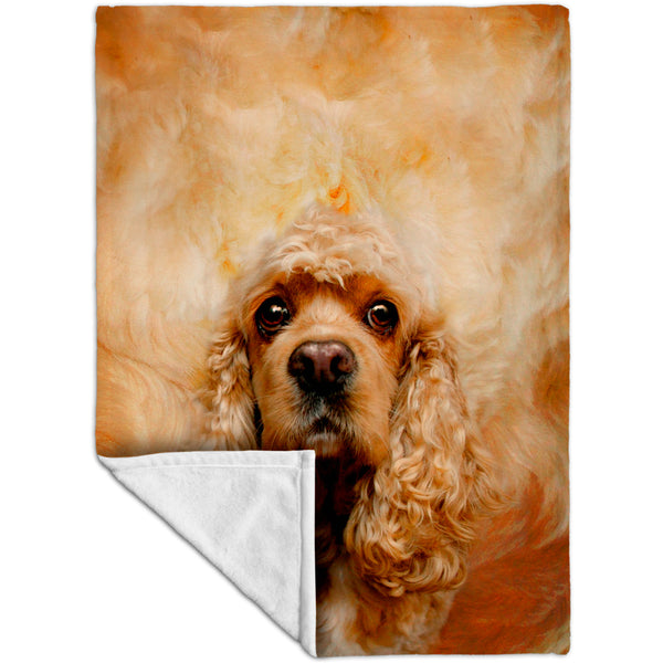American Cocker Spaniel Face Fleece Blanket