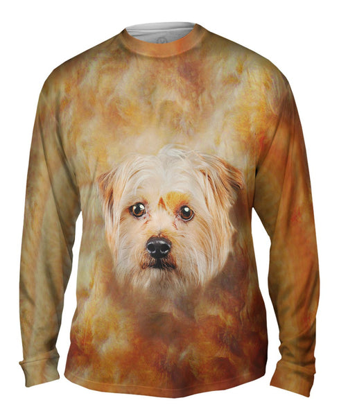 Cute Yorkie Face Mens Long Sleeve